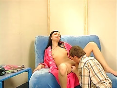 Adorable Russian brunette teen gets her twat licked