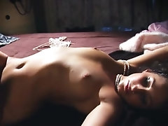 Vintage sexy babe stripping and touching her hot body