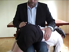 Short haired schoolgirl spanked for masturbating