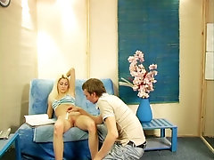 Nice looking Russian blonde gets her pussy shaved