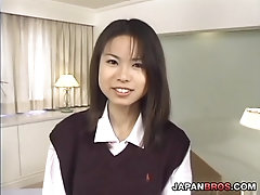 Coed Japanese in school dress mouth fucked and gets pounded