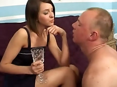 Shocking teen gives a guy some dirty love